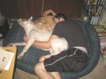 Stu and 2 dogs sharing a nap
